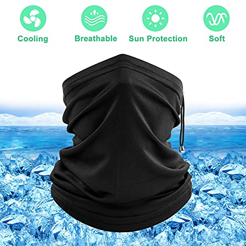 COOLOO Cooling Neck Gaiter, 2 Pack Adjustable Face Covering for Women Men, Breathable Sun Protection Bandanas, Headwear Snoods for Outdoor Running, Hiking, Cycling, Skiing, Fishing