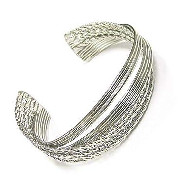 Linpeng Twisted Style Metal Open Cuff Women Bangle Bracelet, Silver