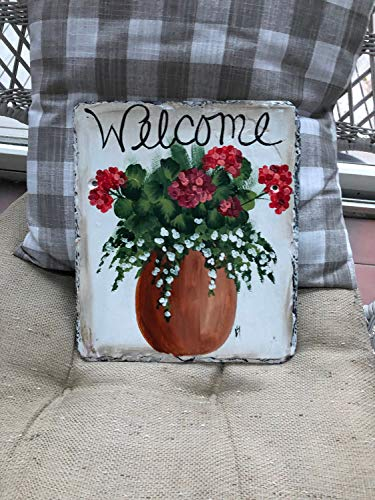MaxwellYule Spring Door Decor Painted Slate Welcome Sign Geranium Welcome Sign Welcome Plaque Summer Door Hanger Welcome