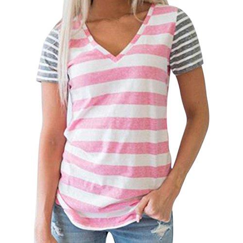 OSYARD Damen Lässige Naht Gestreifte Kurzarm-T-Shirt Bluse mit V-Ausschnitt(EU 40 / M, Rosa)