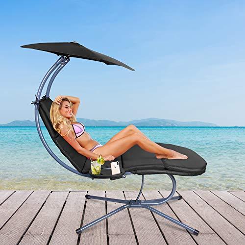 RANSENERS® Schaukelliege Sonnenliege Gartenliege Relaxliege mit Verstellbarer Sonnenschirm und Getränkebecherhalter, bis 160kg belastbar, mit Deutschem TÜV-Bericht, Schwarz - 5