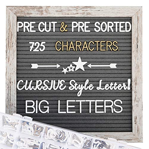 Rustic Wood Frame Felt Letter Board 10x10 inches, Pre Cut & Sorted 725 White & Gold Letters, Cursive style letters, Big letters, Letter Organizer, Picture Hangers, Wall Mount.