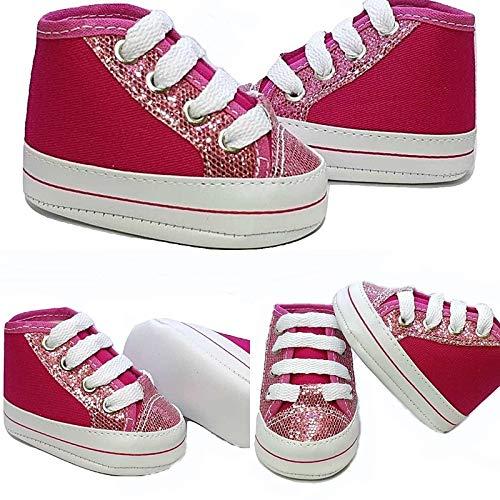 Tênis Bebê Pink Glitter Cano Alto tamanho:P