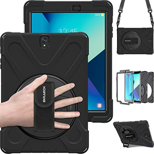 Samsung Galaxy Tab S3 9.7 Case, BRAECN[Heavy Duty]360 Degree Rotation Kickstand/ a Hand Strap and Adjust Shoulder Strap Case[Shockproof]Hybrid pc+Silicone Cover For Samsung Galaxy T820/T825C (Black)