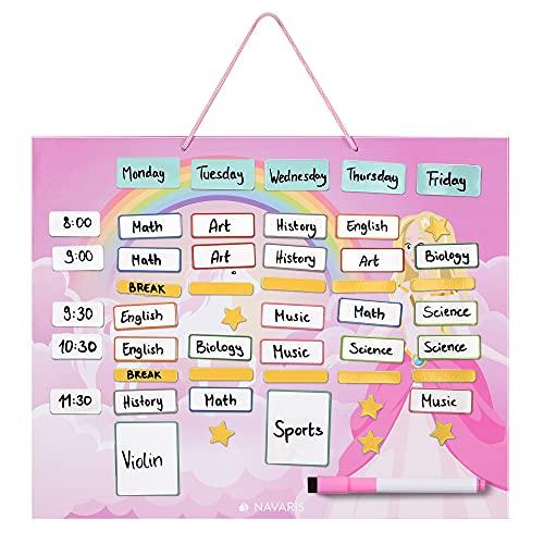 Navaris Horario magnético para niños - Planificador Organizador para la Nevera o Pared - Pizarra para planificar Calendario semanal Escolar - Rosa