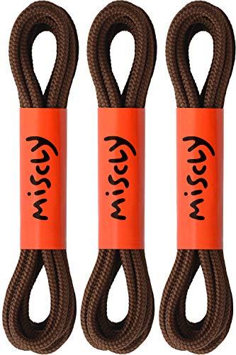 Miscly – Schnürsenkel Rund, Extrem Reißfest [3 Paar] für Arbeitsschuhe, Stiefel und Wanderstiefel - Nylon und Polyester - Ø 5 mm (160 cm, Braun)