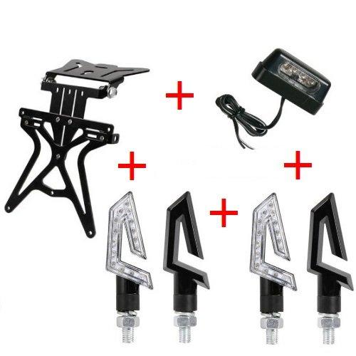 Compatibel met bougies CAFERA RACER 1130 set voor motorfietsen, universeel verstelbaar, niet gespecificeerd, 2 paar led-knipperlichten zwart + TL-lamp.