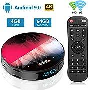 Android TV Box 9.0 【4GB RAM+64GB ROM】 NinkBox N2 Plus RK3318 Quad-Core 64bit Cortex-A53, TV Box Android WiFi 2.4G/5G, 3D Ultra HD 4K, USB 3.0, BT 4.0 Smart TV Box