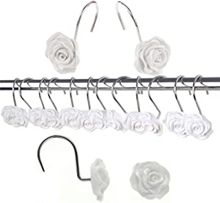 YUKUNTANG Shower Curtain Hooks, 12 Pcs Rose Anti Rust Decorative Shower Curtain Rings Hooks for Bathroom Bedroom Decor Baby Kids (White)