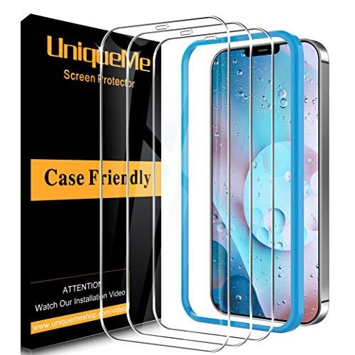 [3 Pack] UniqueMe Vetro Temperato per iPhone 12 Pro Max 5G (6.7 Pollici) Pellicola Protettiva, [9H Hardness] [Bubble Free] Anti-Scratch [Con cornice di installazione]
