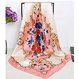 MLDSJQJ Chal de Moda Estampado Floral Hijab Bufanda para Mujer Letras patrón Bolso Bufandas Mujer 90 * 90 cm pañuelo Cuadrado pañuelos para Damas,Camel,90cmX90cm
