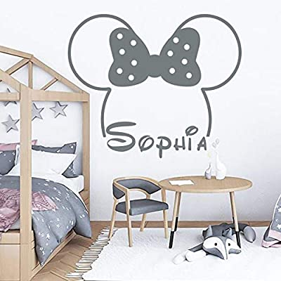 A Top Decals Name Wall Decal Minnie Mouse Decal Baby Room Decor Girl Name Decal Minnie Mouse Ears Nursery Wall Decal Girl Room Decor Mouse Decal - Custom Color