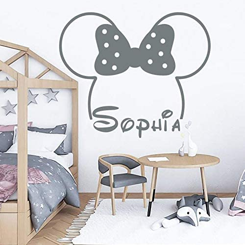Amazon Com Name Wall Decal Minnie Mouse Decal Baby Room Decor Girl Name Decal Minnie Mouse Ears Nursery Wall Decal Girl Room Decor Mouse Decal Custom Color Arts Crafts Sewing