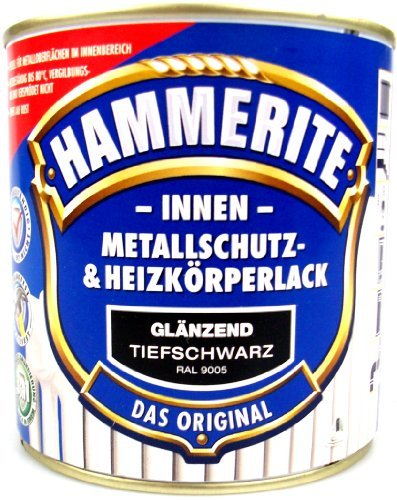 Hammerite Metallschutz- und Heizkörperlack tiefschwarz glänzend 0,5l