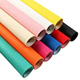 David angie 10Pcs Solid Color PU Synthetic Leather Leather Grain Texture Faux Leather Sheet 7.7' x 12.9' (20 cm x 33 cm) Perfect for Making Hair Bow Sewing Crafting DIY Projects