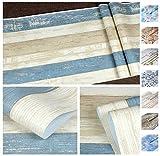 ANTEVIA - Papier Peint Adhésif Résistant - 45cm x 500cm   PLUS DE 50 MODÈLES   Sticker Autocollant Film adhésif Naturel Papier peint (Lambris bois beige bleu)
