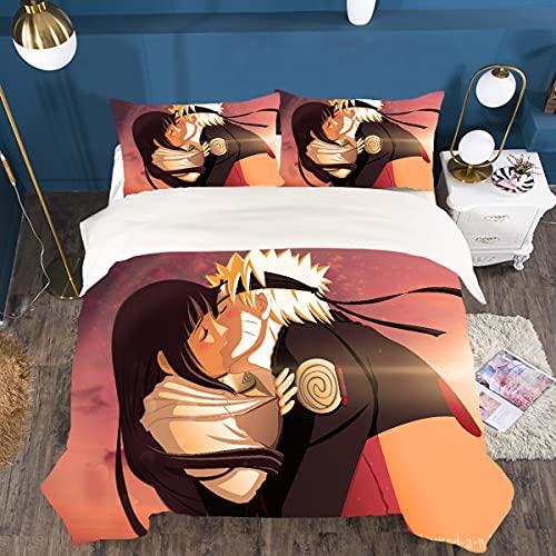 Naruto Super Manga Anime - Set copripiumino e federa per cuscino, adatto per chi soffre di allergie, ideale come regalo per ragazzi, traspirante (A1,230 x 260 cm + 2 x 50 x 75 cm)