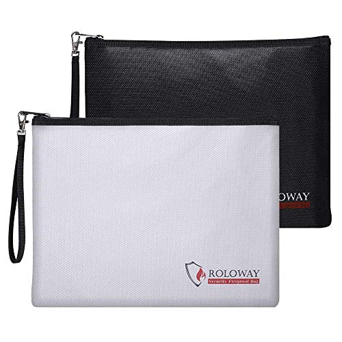 ROLOWAY Fireproof Document Bag (13.4 x 9.8 inches), Fireproof Money Bag for Cash, A4 Documents with Zipper & Strap (2-Pack)