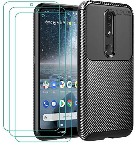iVoler Cover per Nokia 4.2 + 3 Pezzi Pellicola Vetro Temperato, Fibra di Carbonio Custodia Protezione in Morbida Silicone TPU Anti-Graffio e Antiurto Protettiva Case - Nero