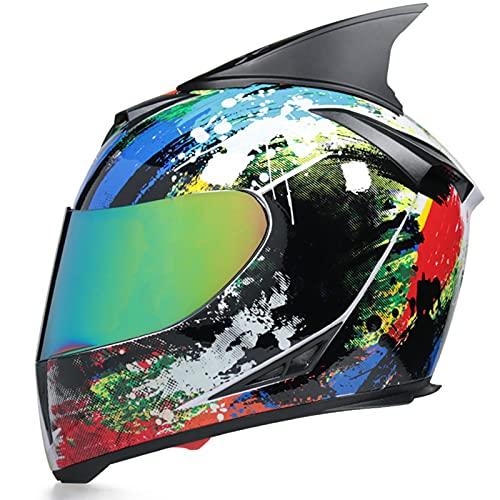 Cat Ears Integralhelm Helm Motorradhelm Street Helm Herren Damen Adult für Motorrad Motorradintegralhelm mit integrierter Sonnenblende und klappbarem Visier,White comic a,L 58~59cm