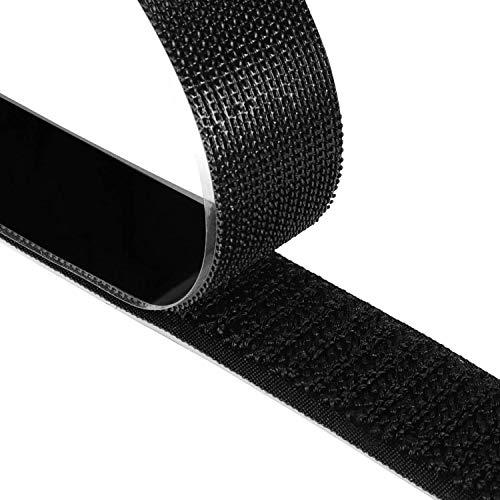 Fesoar Belcro Adhesivo Fuerte 8M Hook y Loop Auto Adhesivo Cinta Rollo Doble Cara, 20 mm de Ancho (Negro)