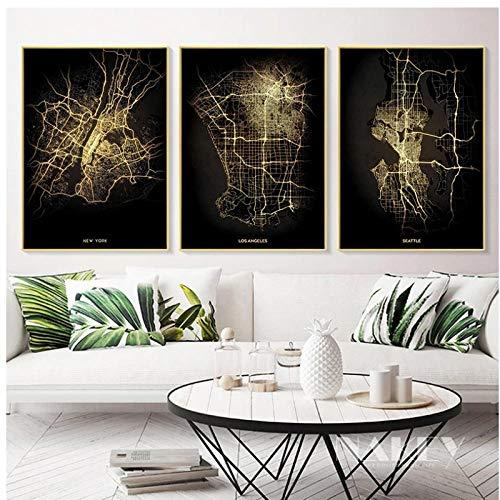 BINGJIACAI Mapa de la ciudad de Estados Unidos Vista nocturna Semáforo Mapa de calor Lienzo Pintura Póster Arte de la pared Impresiones de imágenes Decoración para el hogar-40x60cmx3 Sin marco
