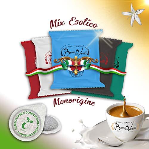Caffè Italiano Bocca della Verità Pads MIX MONORIGINE ESOTICO - Packung Mit 100 Pads - Kompatibel ESE 44