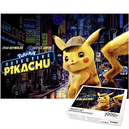 Rompecabezas de 1000 Piezas para niños Pikachu Rompecabezas de descompresión para Adultos Regalo Creativo Decoración del hogar Juego Educativo Desafío 70x50cm-Detective Pikachu Pokemon