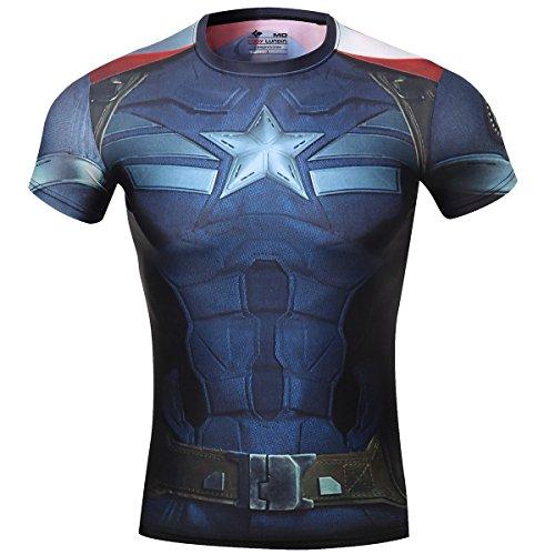 Cody Lundin T-Shirt Compression da uomo, motivo Capitan America - The Avengers 2 Bleu foncé M