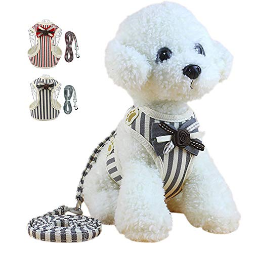 HALOViE Small Dog Harness with Leash, Fashionable Cute Puppy Cat Striped Tie Elegant Harness Breathable Soft Mesh for Small Medium Pet Doggy Doggie Kitten