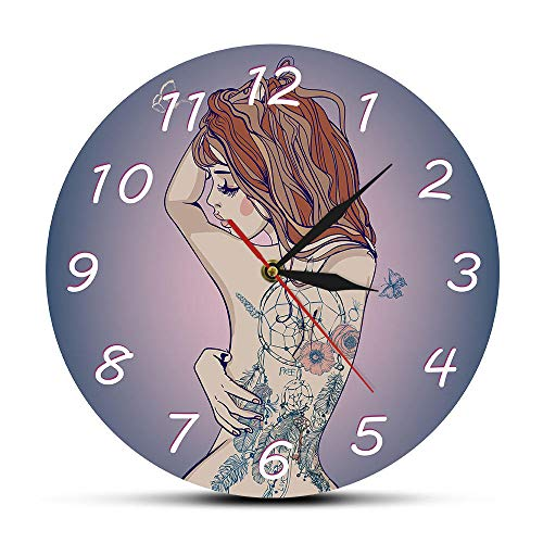 Mujer Joven Hermosa con Tatuaje Reloj de Pared Sexy Tatuajes de Cuerpo Tatted Back Silent Quartz Reloj de Pared Tattoo Studio Sign-Frameless_Simple_Design