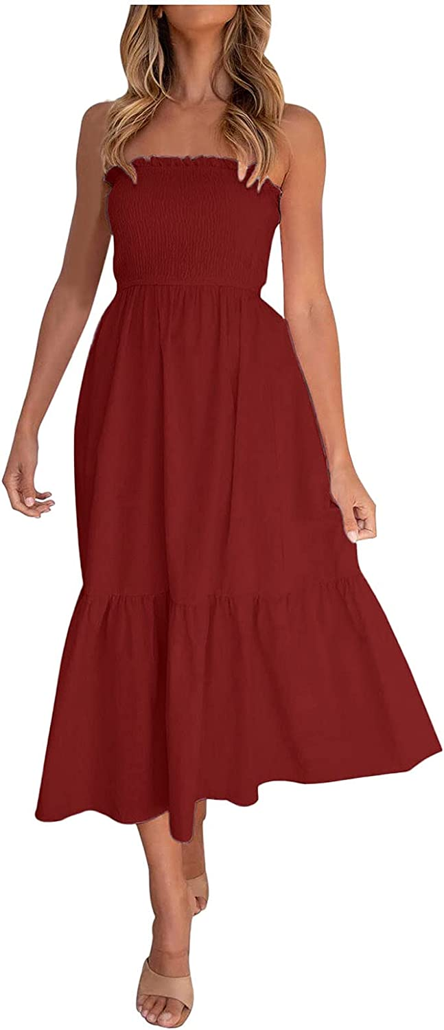 Women's Strapless Tube Top Dresses Summer Sexy Ruched Wrap Gradient Midi Dress Party Club Bandeau Dress