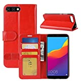 HualuBro Huawei Y6 2018 Hüllen, Honor 7A Hülle, Retro Leder Brieftasche Etui LederHülle Tasche Schutzhülle HandyHülle Handytasche Wallet Flip Hülle Cover für Huawei Y6 2018, Honor 7A - Rot