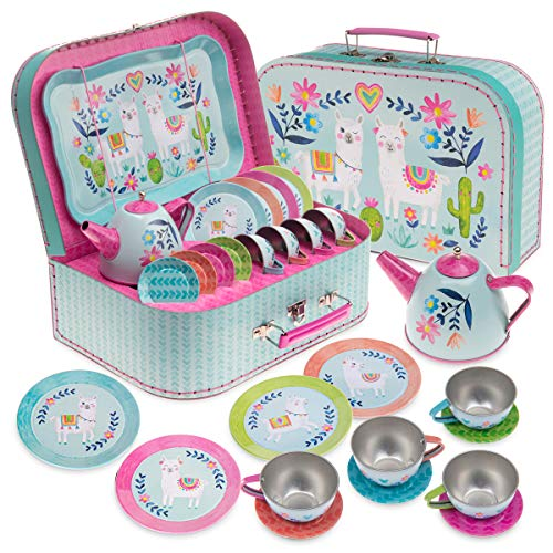 Jewelkeeper 15 Piece Kids Pretend Toy Tin Tea Set & Carry Case - Llama Design