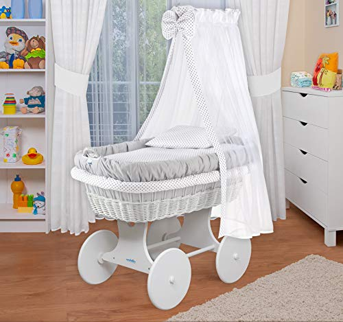 WALDIN Baby Stubenwagen-Set mit Ausstattung,XXL,Bollerwagen,komplett,18 Modelle wählbar (Gestell/Räder weiß lackiert, grau/Punkte grau)