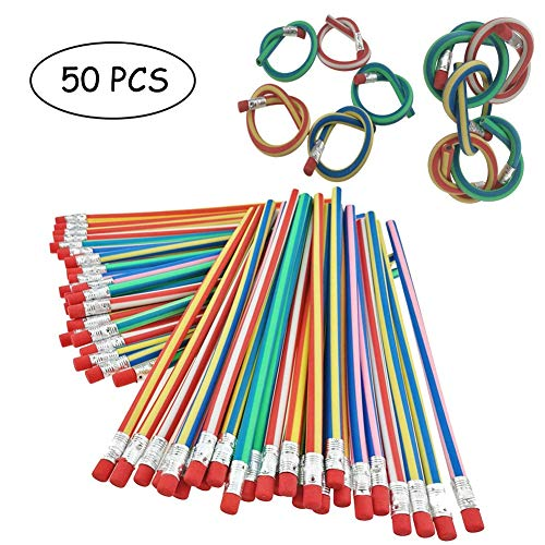 50 PCS Colorful Magic Stripy 18cm Bent Flexible Soft Pencil For Kid Drawing Writing School Study Gift