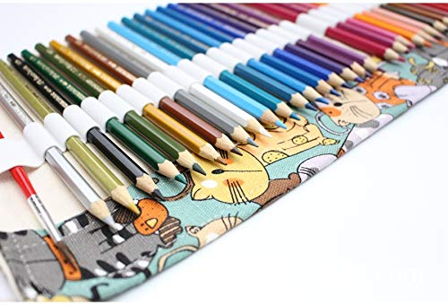 enzhe 12 hole cartoon kat canvas pen zak groot gezicht cartoon gordijn kleur lood opslag pen zak canvas kat potlood opslag bag_1 (12 gaten) _22*19.5cm