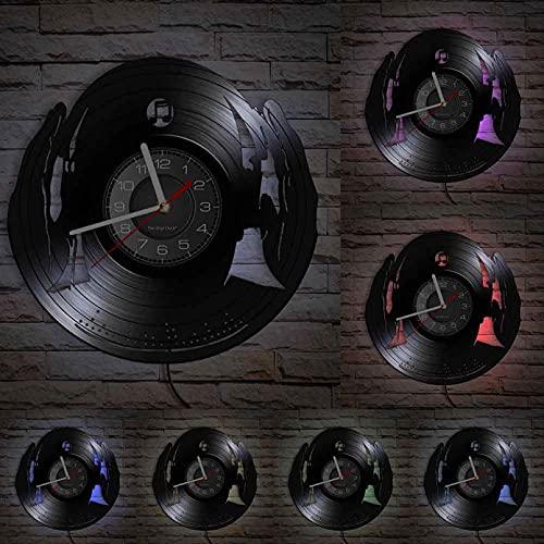 Dj Wandklok Club Party Mix Dance Muziek Beat Hoofdtelefoon Vinyl Record Klok Cd Disc Jockey Decoratieve Vintage Klok Met Led
