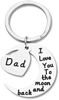 Dad Christmas Gifts Keychain Fathers Day Birthday Gifts for Daddy Step Dad to Be Husband from Daughter Son Kids Wife I Love You to The Moon Key Ring Father of The Bride Wedding Anniversary Men Him