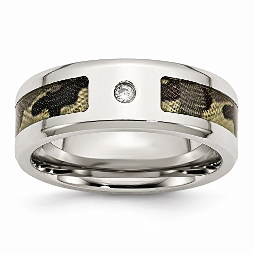 Solid Stainless Steel CZ Cubic Zirconia Printed Brown Camo Under Rubber Wedding Band Ring Comfort-Fit Size 11