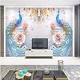 Weaeo Papel Tapiz 3D Flor De Pavo Real Papeles De Pared Foto Mural Para Sala De Estar De Fondo Tv Arte De La Pared Decoración En Relieve Murales Florales-400X280Cm