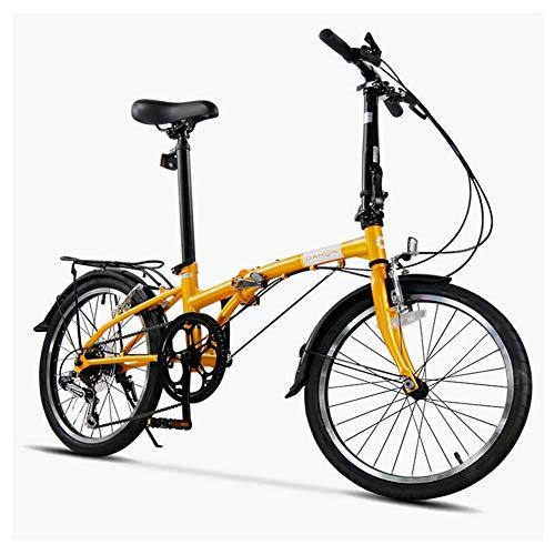 WJSW 20 \'Faltrad, Erwachsene 6-Gang Leichtes Klapprad, leichtes tragbares, kohlenstoffhaltiges Stahlgestell, klappbares Citybike mit Gepäckträger hinten, Beige