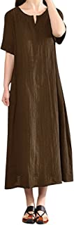 Summer Dress for Women Plus Size Linen Dress Bohemia Casual Solid V-Neck Short Sleeve Cotton