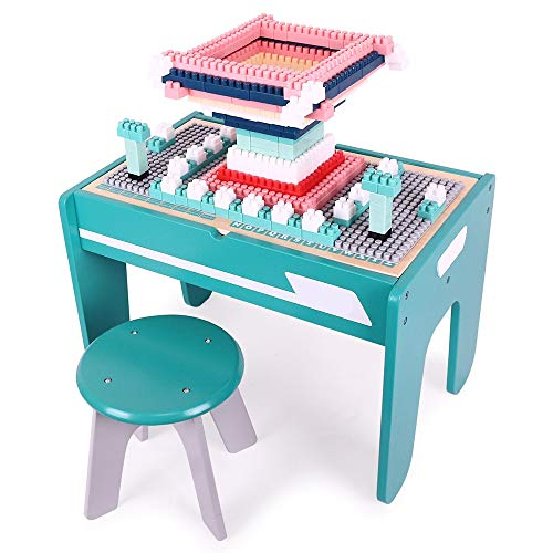 Zhicaikeji Table De Jeu Blocks Table d'apprentissage de la Petite enfance 3-6 Ans Table en Bois for Enfants Multifonctionnelle Granules Assemblage de bébé Table de Jouets (Color : Blue, Size : Big)