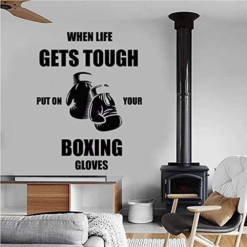 Boxen Wandtattoos Zitate Wenn das Leben hart wird Ziehen Sie Ihre Boxhandschuhe an Vinyl Wandaufkleber für Fitnessstudio Schlafzimmer Dekoration 32 X 42 Cm