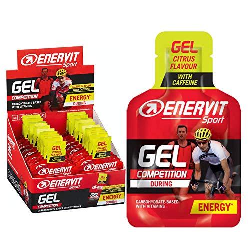 Enervit Sport Gel Citrus mit Koffein High Carb Energie Gel | Lauf Gel, Energy Gel Sport, Gel Radfahren | 24x25ml