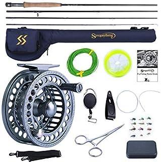 Sougayilang - Canna da pesca a mosca e mulinello combinato, 4 pezzi, ultra peso portatile e mulinello in alluminio lavorat...