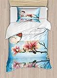 PRUNUSHOME Draps de lit réparateur sans Couture avec Motifs aquarelles Bleues et Oranges dans Le Style gribouilli. Respirant, Polyester, Couleur 08, California King