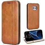 Leaum Handyhülle Leder für Samsung Galaxy S7 Hülle, Premium Handytasche Flip Schutzhülle für Samsung Galaxy S7 Tasche (Braun)