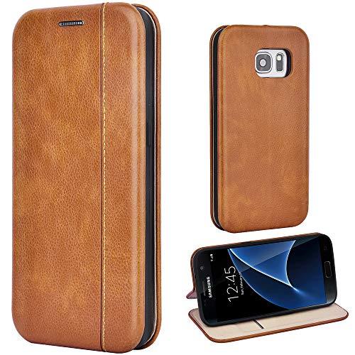 Leaum Coque Cuir pour Samsung Galaxy S7 Telephone Étui à Rabat Protecteur Housse en Cuir - Brun